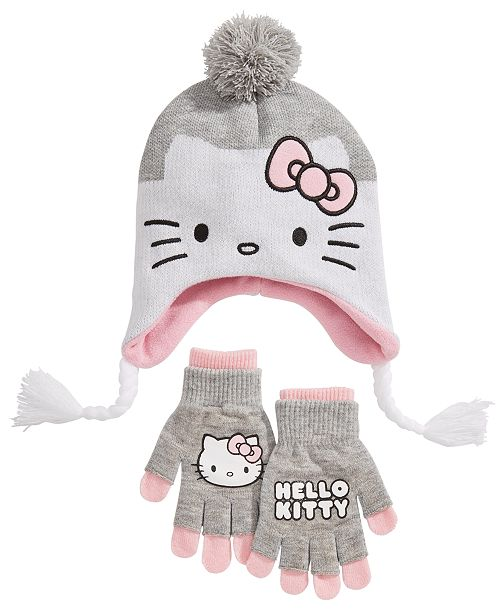 7bf0e36d13a Hello Kitty Big Girls 2-Pc. Hat   Adjustable Gloves Set - All Kids ...