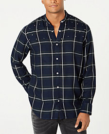 I.N.C. Men's Studded Windowpane Shirt, Created for Macy's