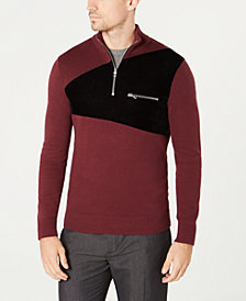 I.N.C. Men's Rebel Varsity Quarter-Zip Sweater, Created for Macy's