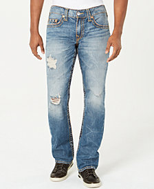True Religion Men's Straight-Leg Old Multi Wheat Big T Ripped Jeans