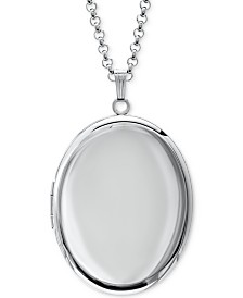 "Polished Oval Double Frame 30"" Pendant Necklace in Sterling Silver"
