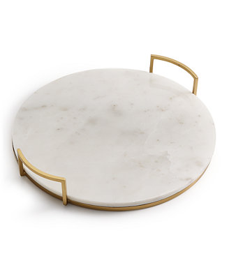 Marble Tray With Gold Tone Handles, Created For Macy's by Hotel Collection