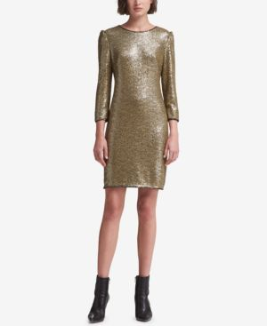 DKNY Long-Sleeve Sequin Dress, Created For Macy'S in Gold