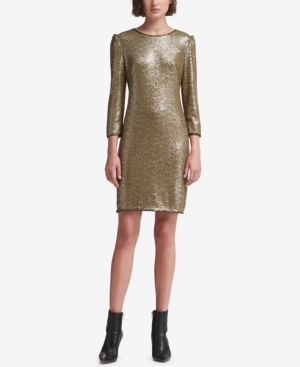 Dkny LONG-SLEEVE SEQUIN DRESS, CREATED FOR MACY'S