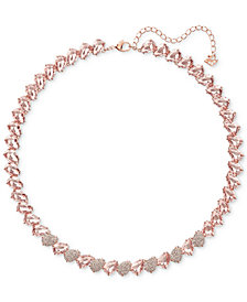 "Swarovski Rose Gold-Tone Crystal & Stone Collar Necklace, 14-3/4"" + 2"" extender"