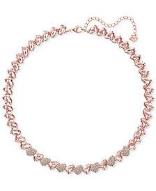 "Swarovski Rose Gold-Tone Crystal & Stone Collar Necklace, 14-3/4"" + 2"" extender"