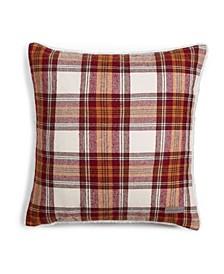 Edgewood Plaid Dark Red Flannel Square Pillow