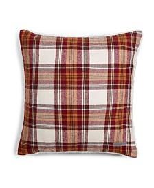 Eddie Bauer Edgewood Plaid Dark Red Flannel Square Pillow