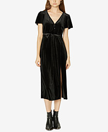 Sanctuary Puffed-Sleeve Tie-Belt Velvet Dress