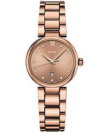Women's Swiss Baroncelli II Donna Diamond-Accent Rose Gold-Tone PVD Stainless Steel Bracelet Watch 29mm