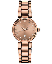 Mido Women's Swiss Baroncelli II Donna Diamond-Accent Rose Gold-Tone PVD Stainless Steel Bracelet Watch 29mm