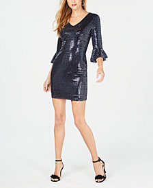 kensie Sequined Bell-Sleeve Dress