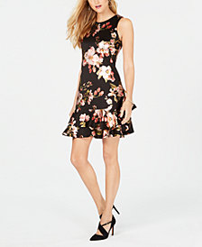 Robbie Bee Petite Ruffled Floral-Printed Drop-Waist Dress