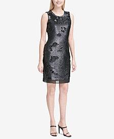 Calvin Klein Sequined Chiffon-Hem Dress