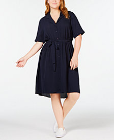 Monteau Trendy Plus Size Tie-Waist Shirtdress