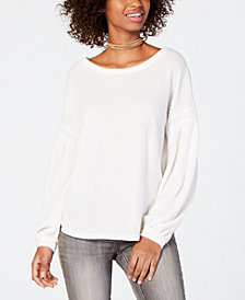 American Rag Juniors' Waffle-Knit Balloon-Sleeved Top