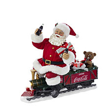 Kurt Adler 13 Inch Battery Operated Coca Cola Santa Train with LED Garland