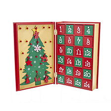 Kurt Adler 11 Inch Wooden Christmas Advent Calendar Book