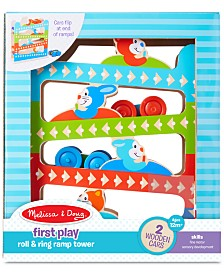 Melissa & Doug First Play Roll & Ring Ramp Tower With 2 Wooden Cars