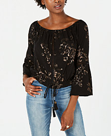 American Rag Juniors' Metallic-Print Off-The-Shoulder Top, Created for Macy's