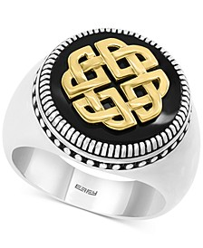 EFFY® Men's Onyx (16mm) Ring in Sterling Silver & 18k Gold Plate