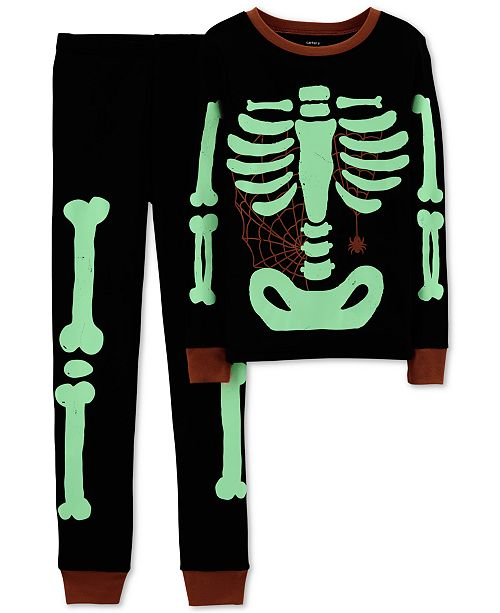 43e4cb4837cd Carter s Little Boy 2-Pc. Skeleton Glow In The Dark Pajamas Set ...