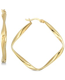 Twisted Square Hoop Earrings in 18k Gold over Sterling Silver