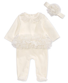 First Impressions Baby Girls 2-Pc. Velour Tulle Footed Coverall & Headband Set, Created for Macy's