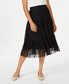 JM Collection Metallic Tiered Skirt, Created for Macy's