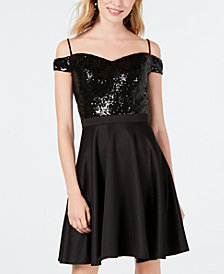Morgan & Company Juniors' Sequin Off-The-Shoulder Fit & Flare Dress
