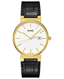 Mido Men's Swiss Dorada Black Leather Strap Watch 38mm