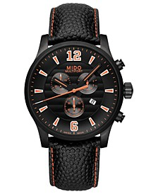 Men's Swiss Chronograph Multifort Black Leather Strap Watch 42mm