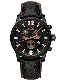 Mido Men's Swiss Chronograph Multifort Black Leather Strap Watch 42mm