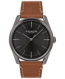 COACH Men's Preston Saddle Leather Strap Watch 40mm