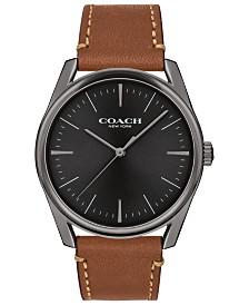 COACH Men's Preston Saddle Leather Strap Watch 40mm