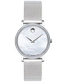 Women's Swiss Museum Classic Diamond (1/4 ct. t.w.) Stainless Steel Mesh Bracelet Watch 28mm