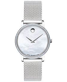 Movado Women's Swiss Museum Classic Diamond (1/4 ct. t.w.) Stainless Steel Mesh Bracelet Watch 28mm