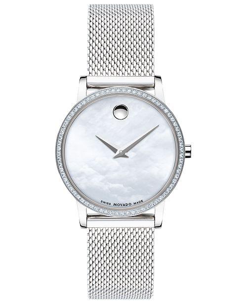 Movado Women's Swiss Museum Classic Diamond (1/4 ct. t.w.) Stainless Steel Mesh Bracelet Watch 28mm