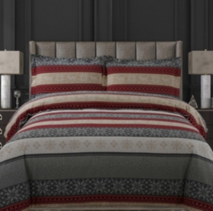 Alpine Knit Cotton Flannel Printed Oversized King Duvet Set Bedding