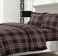 Heritage Plaid Cotton Flannel Printed Oversized King Duvet Set