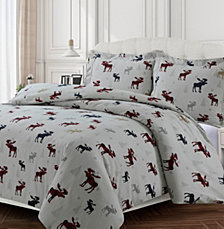 Plaid Moose Cotton Flannel Printed Oversized Duvet Sets