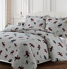 Plaid Moose Cotton Flannel Printed Oversized Duvet Sets