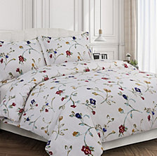 Floral Garden Cotton Flannel Printed Oversized Queen Duvet Set