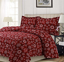 Christams Eve Snowflakes Printed Heavyweight Flannel Oversized King Duvet Set