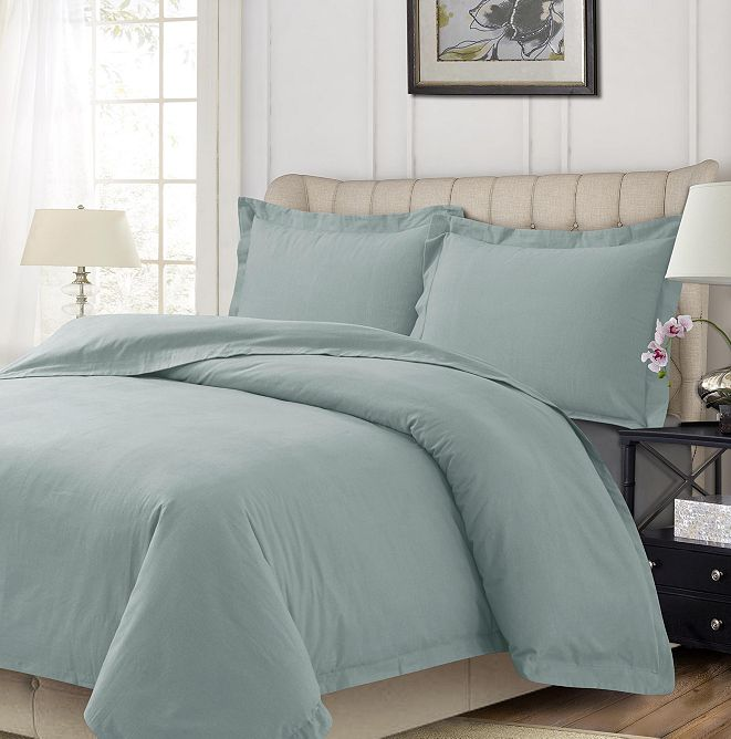 Tribeca Living Heavyweight Flannel Solid Oversized King Duvet Set