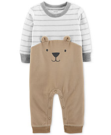 Carter's Baby Boys Striped Bear Fleece Coverall