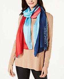 Calvin Klein Colorblocked Satin Stripe Scarf