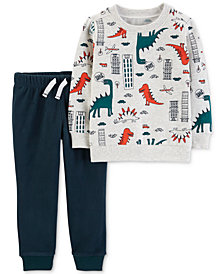 Carter's Baby Boys 2-Pc. Dino-Print Top & Jogger Pants Set