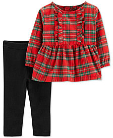 Carter's Baby Girls 2-Pc. Flannel Plaid Top & Leggings Set