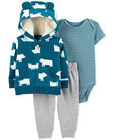 Carter's Baby Boys 3-Pc. Polar Bear Hoodie, Bodysuit & Jogger Pants Set